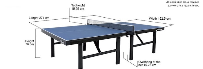 Official Ping Pong Table Size & Dimensions